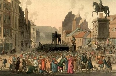 Gravyr i färg av skampåle (pillory) vid Charing Cross 1808, av Augustus Pugin och Thomas Rowlandson för Ackermanns 'Microcosm of London' (1808-11).