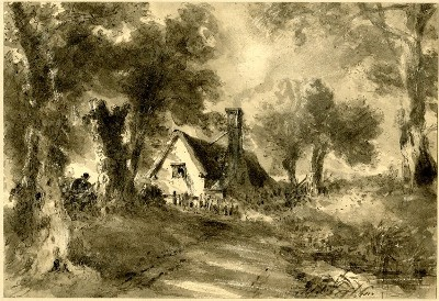 Teckningen 'The Cottage in the Lane' av John Constable, 1827.