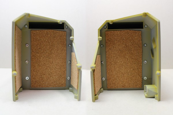 A composite image of the central housing sub-assembly from both ends, with sheets of 2 mm cork glued to the insides to dampen sound.