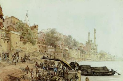 Tavlan 'View of the Ugneswur Ghat, Benares', av James Prinsep, 1825.
