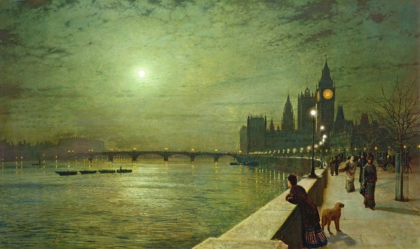 Tavlan Reflections on the Thames, Westminster av John Atkinson