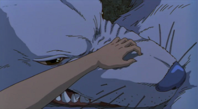A still from Princess Mononoke (1997). San stroking her sibling's nose.