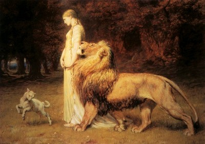 "Tavlan ""Una and Lion"" av Briton Rivière."