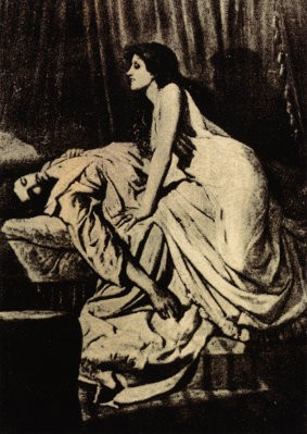 Tavlan 'The Vampire' av Philip Burne-Jones.