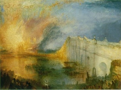 Tavlan 'The Burning of the Houses of Lords and Commons, 16th October, 1834' av J.M.W. Turner.
